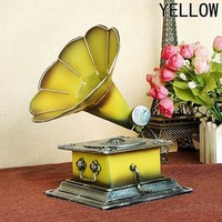 Metal Retro Phonograph Model Vintage Record Player Prop Antique Gramophone Model Home Office Club Bar Decor