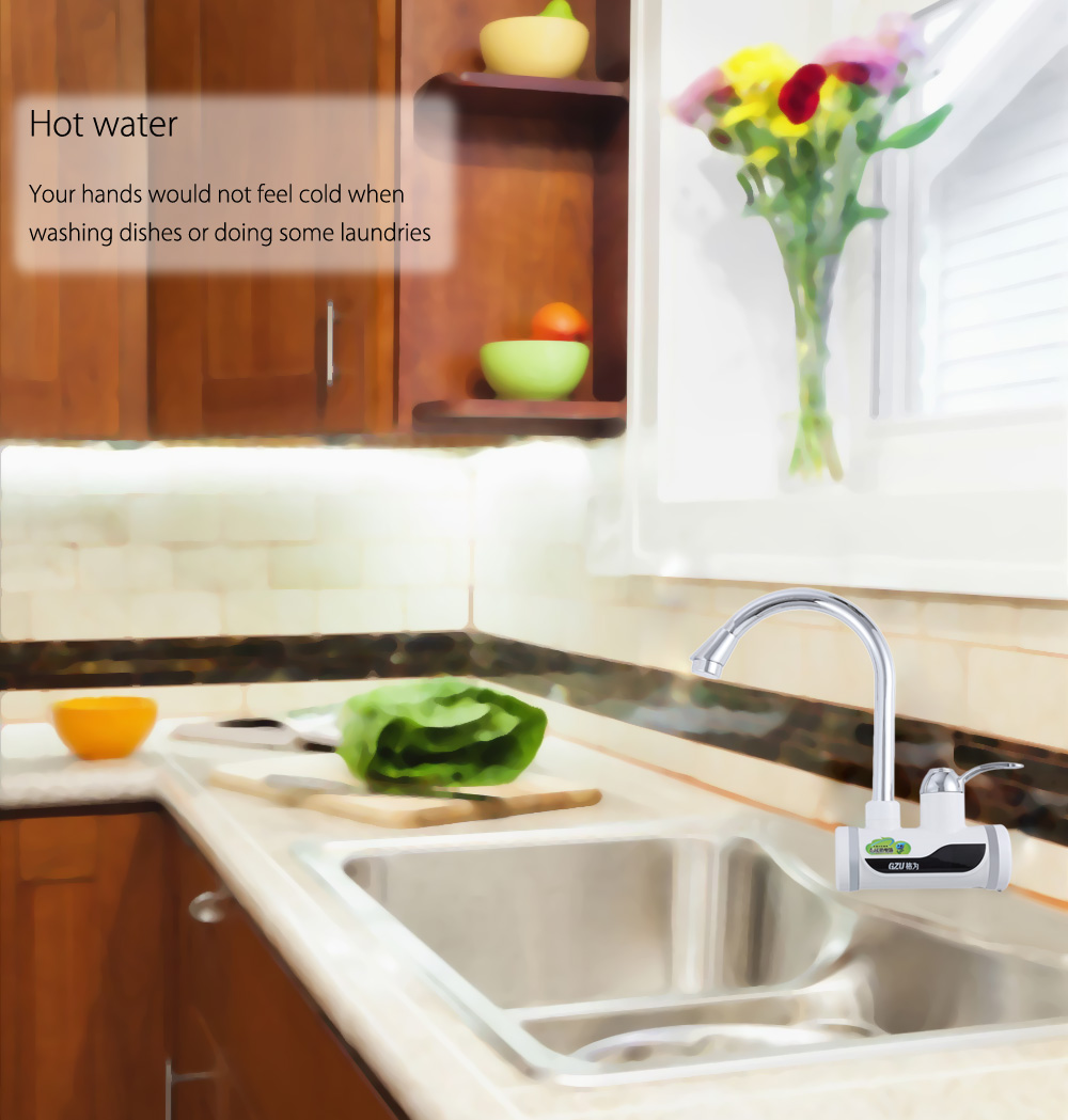 Instant Tankless Electric Water Heater Faucet Kitchen Instant Flow ...