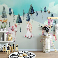 Unicorn hand-painted childrens wall custom large wallpaper murals 3D photo manufacturers wholesale