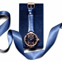 Kenneth Cole женские часы с прозрачной кожаной пряжкой кварцевые синие водонепроницаемые Оригинальные Роскошные Брендовые Часы для женщин KC2643