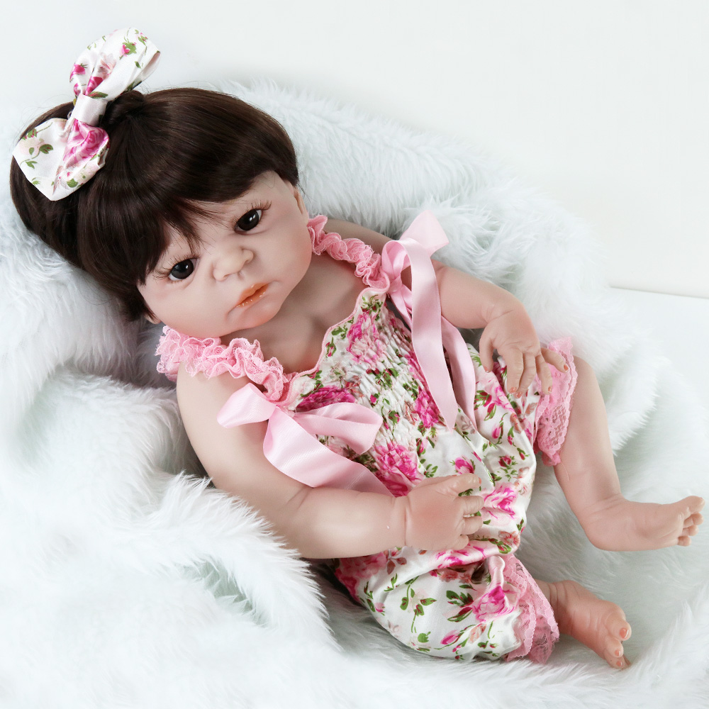 UCanaan 22''/ 55CM Full Vinyl Silicone Doll Reborn Baby Girl Brown Eyes Long Hair Dolls For Children Kawaii Kids Toys ucanaan 55cm hair rooted cloth body reborn doll soft silicone brown eyes toys for girls baby alive new born kawaii kids toys