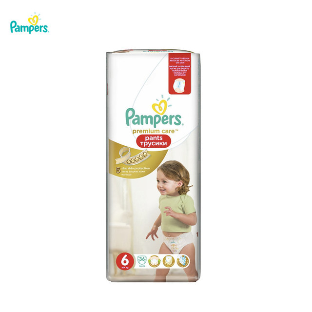 Трусики Pampers Premium Care 16 кг +, размер 6, 36 шт.