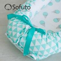 кокон-гнездышко для младенцев из 100% хлопка с бортами и подушечкой в подарок, двухсторонний доставка из россии
