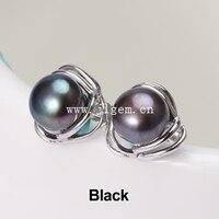 Vendita Calda Nuovo 7-8mm Perle D'acqua Naturale Nero, rosa, viola, Colore bianco Perla Sterling Silver Orecchini a Forma di Fiore AAAA