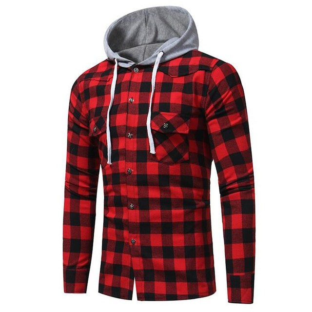 04195c0bc2522f Men Check Plaid Casual Buttons Blouse Hoodies 2018 Autumn Long Sleeve Slim  Fit Hooded Shirt Tops