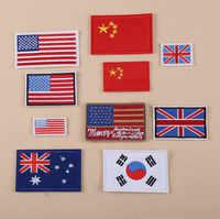 100 шт. Одежда DIY Алмазная вышивка патч США Китай Япония в английском стиле; в Корейском стиле флаги, баннеры гладить на нашивки вышитые наклей...