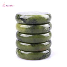 HIMABM 5 Pieces Natural Green Xiuyan Jade Hot Spa Basalt Stone Massage Basalt Stone Lava Rocks 80*80*20mm wholesale