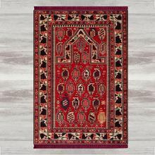 Elsa tapis de prière turque, moderne, antidérapant, imprimé en 3d, rouge, noir, marron, impression musulmane, avec pompons, cadeaux pour laïd islamique