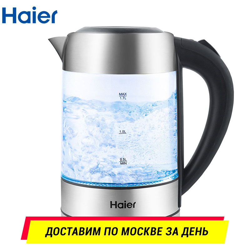 Electric Kettle Haier HEK-143 Glass kettles Heating pot Teapot 1.7L Thermo Household  Quick ins free shipping electric heating water bottle 304 stainless steel household 5l six section heat preservation kettle