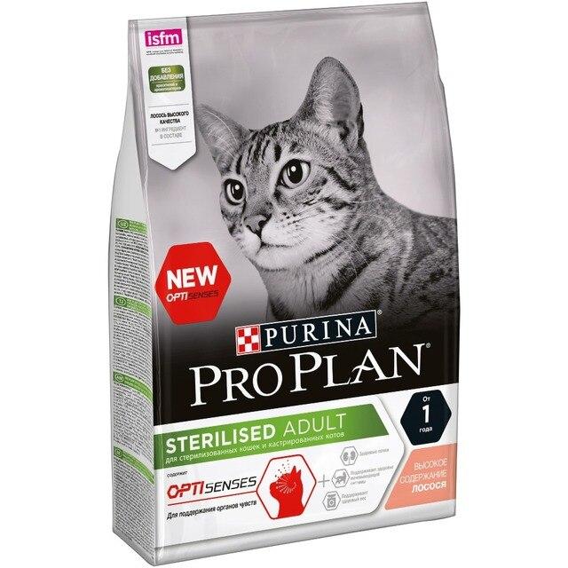 Сухой корм Purina Pro Plan для стерилизованных кошек и кастрированных котов для поддержания органов чувств, с лососем, 4 х 3 кг