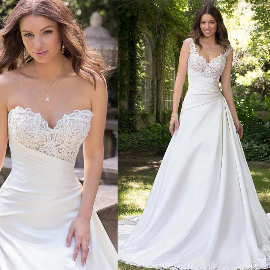 Alluring Satin Sweetheart Neckline Detachable Shoulder Straps A-line Wedding Dresses with Beaded Lace Appliques Bridal Dress