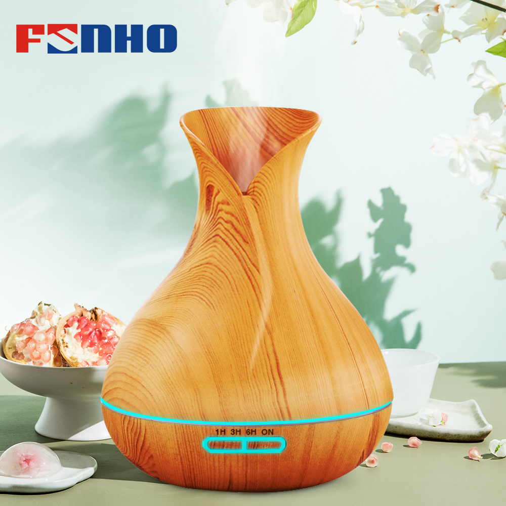 FUNHO 400ml Wood Grain Air Humidifier Aroma Diffuser Essential Oil Diffuser Humidificador 7 LED Night Light Change for Home 217 цена