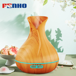 FUNHO 400ml Wood Grain Air Humidifier Aroma Diffuser Essential Oil Diffuser Humidificador 7 LED Night Light Change for Home 217
