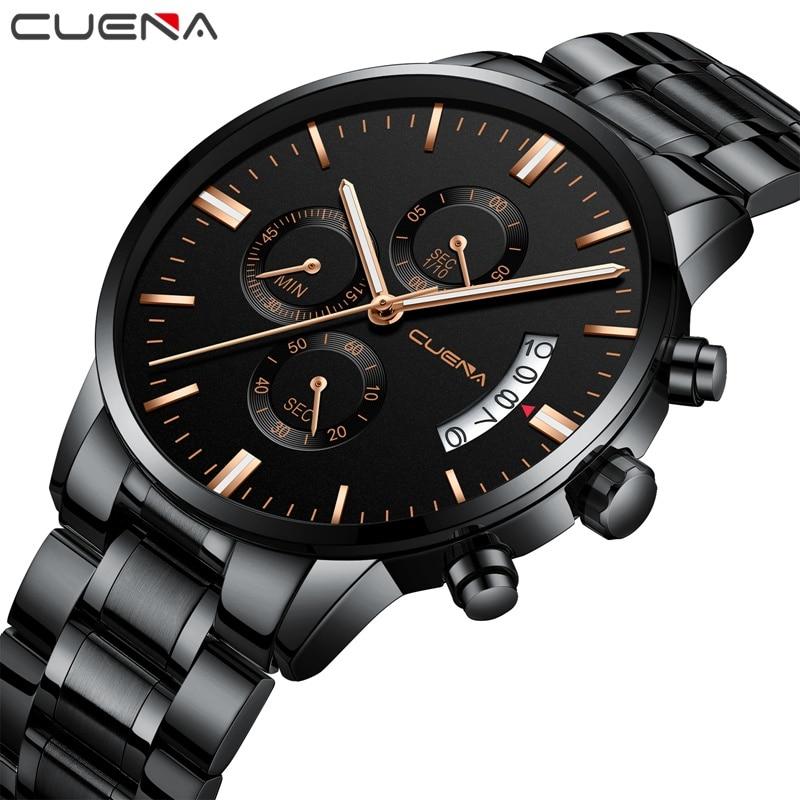 CUENA Quartz horloge 3Atm Waterproof Klok Militair roestvrij staal - Herenhorloges