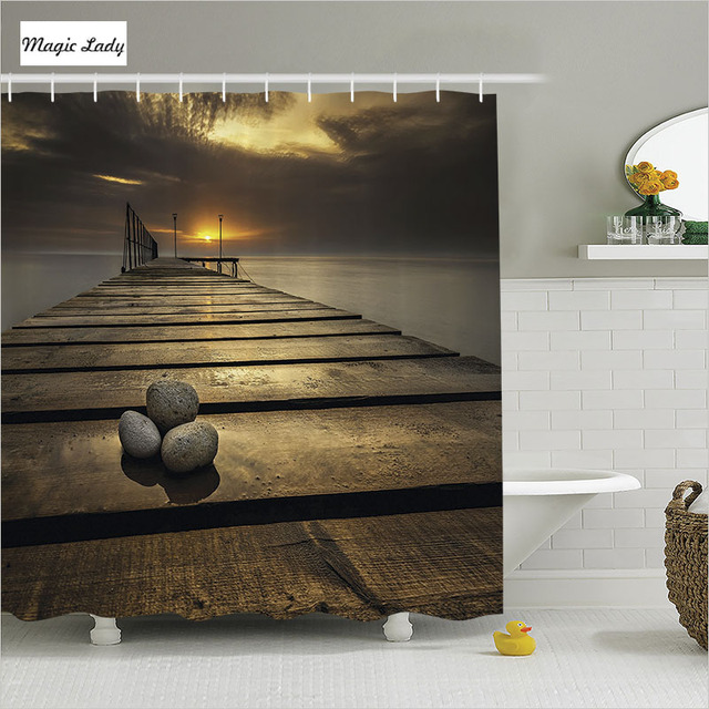 douchegordijn hout badkamer accessoires houten bridge pier zee zonsopgang gordijnen grey bruin geel interieur 180