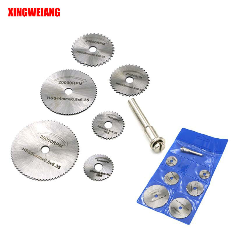 6PCS HSS Rotary Tool 22 /25 /32 /35 /44 /50mm Circular Saw Blades Cutting Discs Mandrel For Dremel Cut Off