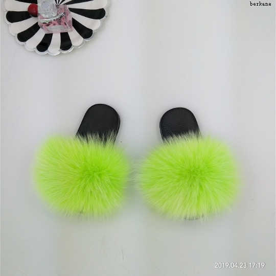 Toddler Fox Slippers Kids Summer Rainbow Colorful Fur Child Home Slides Girl Flop Flips Raccoon Fluffy Cute Flats Boys Fashion