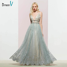 Dressv silver v neck evening dress a line elegant sleeveless floor-length beading wedding party formal dresses