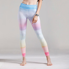 Women New Style Bright Pink Printed Sports Yoga Pants Elastic Compression Fitness Gym Running Leggings