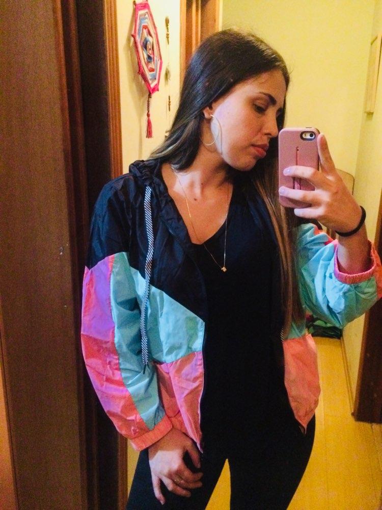 SweatyRocks Woman Winter Coats and Jackets Multicolor Cut and Sew Hooded Windbreaker Jacket Color Block Coats for Women
