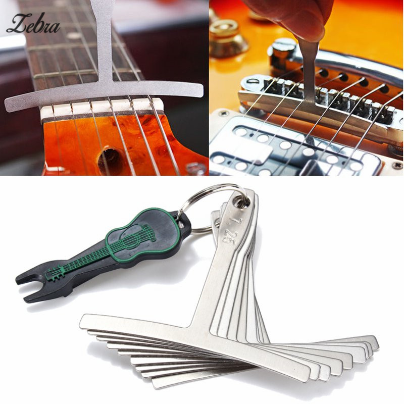 Zebra 9Pcs/Set Electric Bass Guitar Under String Radius Gauge Setup for Luthier Stainless Steel Tools Acessorios Musicais Parts 6pcs steel double truss rod for electric guitar luthier two way adjustment