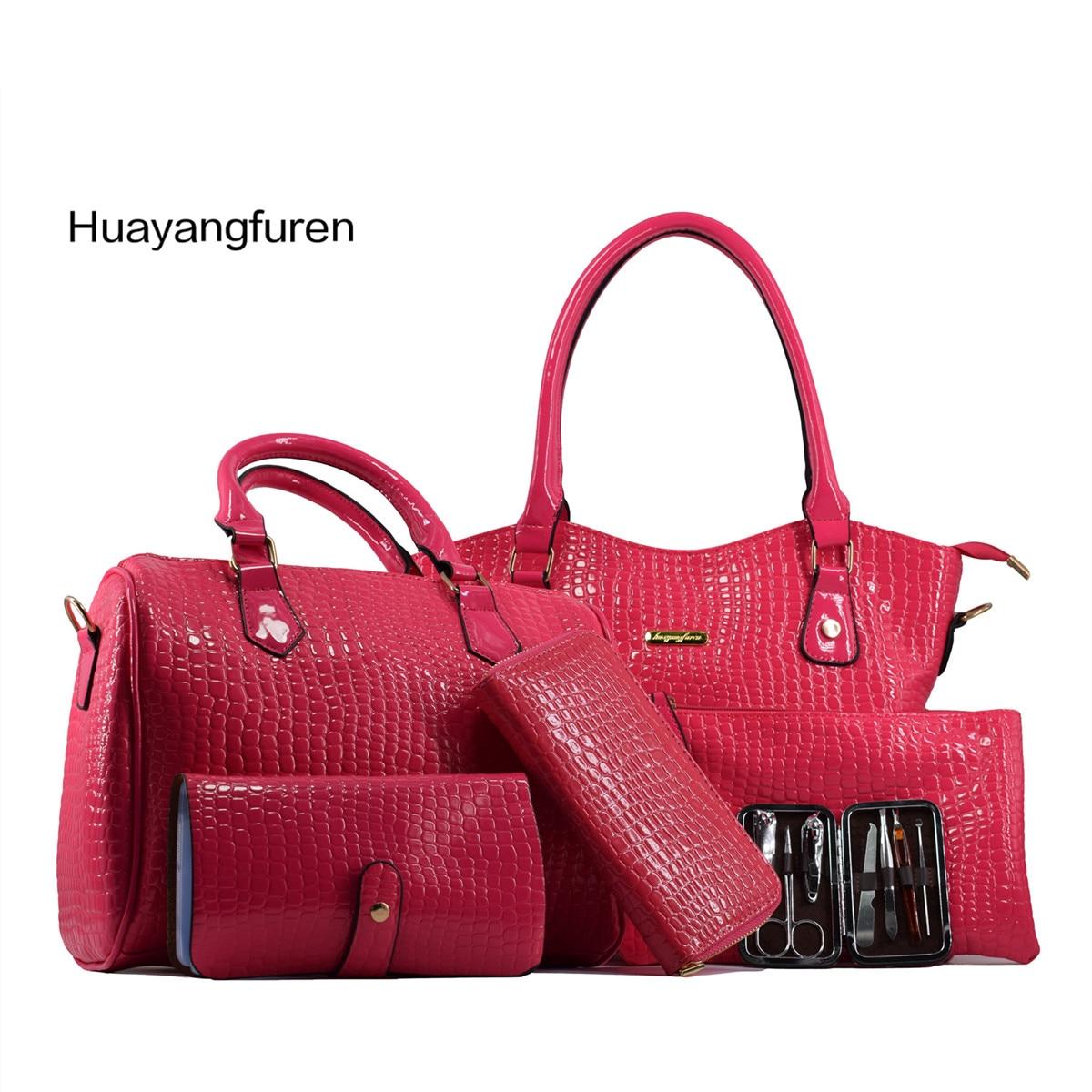 6 pieces set High capacity Top Handle Bag famous brand women shoulder bag Alligator grain Handbag
