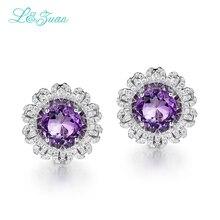 l&zuan 925 Sterling Silver Trendy 5.96ct Natural Amethyst halloween decoration Fine Jewelry Earrings For Women