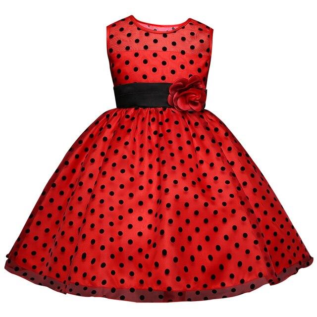 247aab49feb76 Petite fille points noirs robe soirée bal bas dîner robe pour 4 5 6 7 8