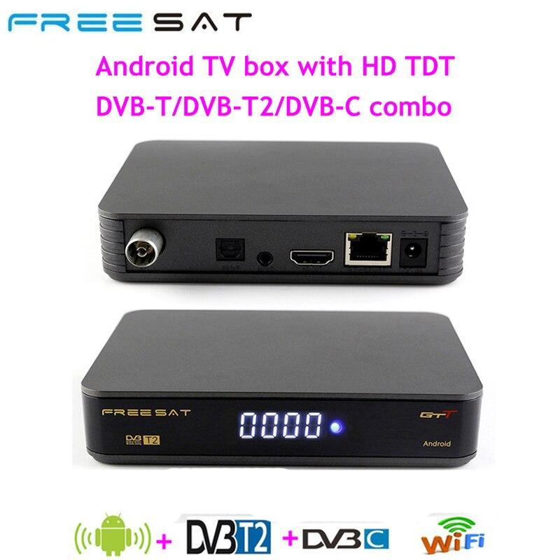 [Genuine] FREESAT GTT Android 6.0 TV BOX DVB-T/T2/Cable Amlogic S905D 1GB RAM 8GB ROM Wifi DVB-T2 Satellite Receiver Set Top BOX цена