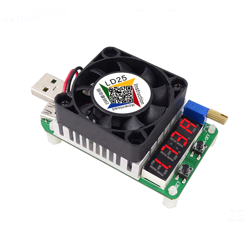 LD25 Electronic Load resistor USB Interface Discharge battery test LED display fan adjustable current voltage 25w Discharge tool 15w usb load usb resistor with fan rd industrial grade electronic load discharge battery test capacity adjustable current