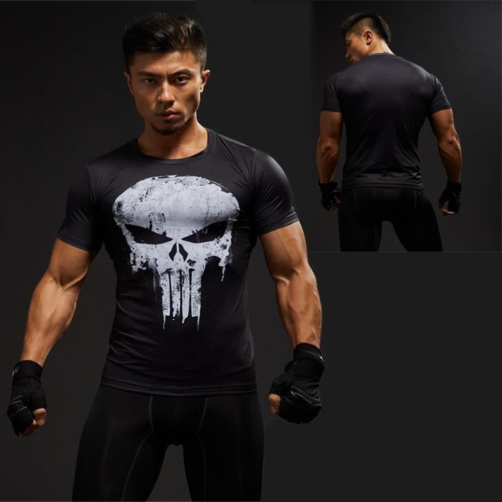 Punisher Gym Sports T Shirt Men Short sleeve T-Shirt Male Crossfit Tee Captain America Superman Compression Shirt MMA Skull Tops skull print slashed tee