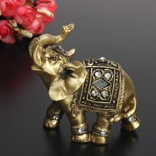 Hot Exquisite Feng Shui Elegant Elephant Statue Lucky Wealth Figurine Ornaments Gift for Home Office Desktop Decoration Crafts(China)