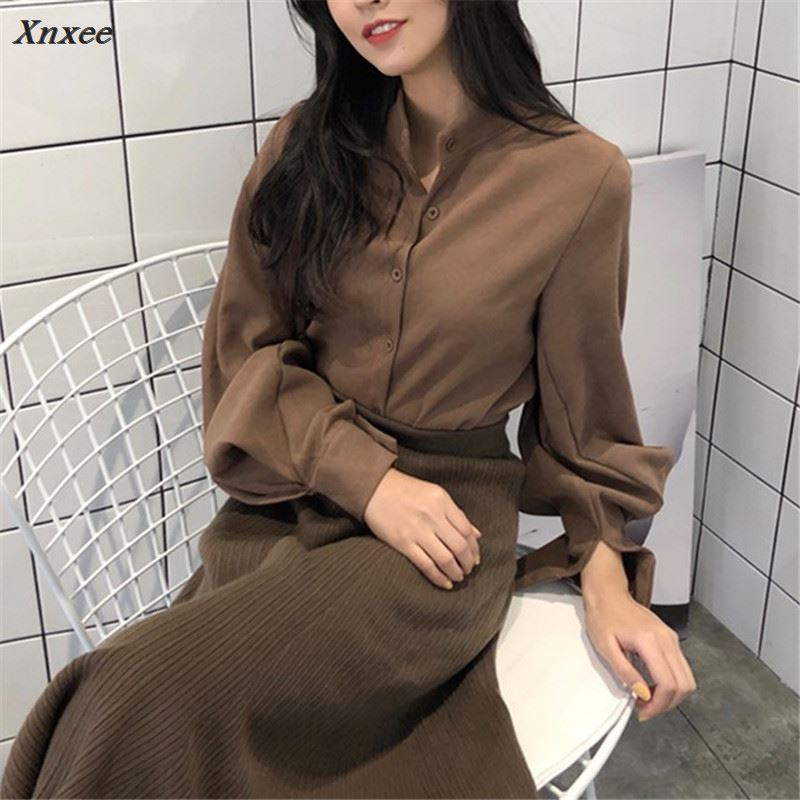 Xnxee Korean Fashion Solid Women Shirts 2018 Retro Single Breasted Stand Collar Female Blusas Spring Casual Blouse 66847 in Blouses amp Shirts from Women 39 s Clothing