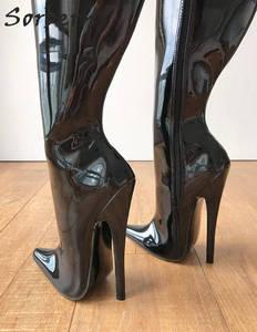 Image 3 - Sorbern 65cm קשיח פיר מותאם אישית עגל אמצע ירך 18cm פגיון אתחול שחור פטנט נשים נעליים גבוהה עקבים חדש רך פנימי מגפיים