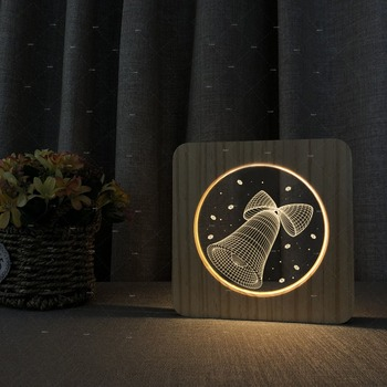 The bell 3D Wooden acrylic night lamps as children's Day gift bedroom decor