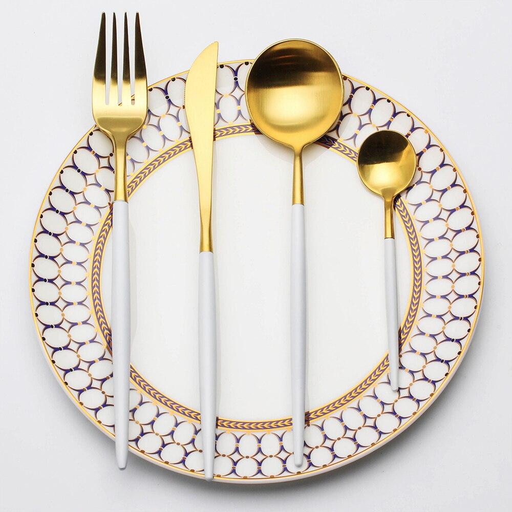 4 stücke Silber 304 Edelstahl Geschirr Griff Besteck Set Steak Gabel Messer Scoops Besteck Set Hause Geschirr Großhandel