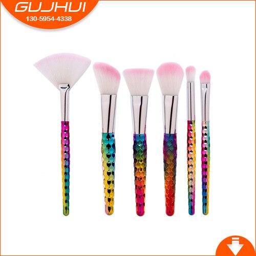 GUJHUI 6pcs Cellular Colorful Brush Foundation Silhouette Eye Shadow Makeup Brush Soft Synthetic Hair PU Leather Case edvotek lab 6 cellular respiration