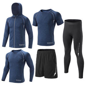 Men Running Set Pants Shorts Shirts Leggings Tights Fitness Clothing Suit