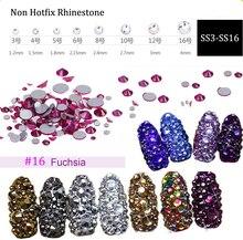 Fuchsia Glass Rhinestone ss3 ss4 ss5 ss6 ss10 ss12 ss16 1440 Nail Art Decoration Flatback Stones Shiny Gems DIY Gem(No.16)