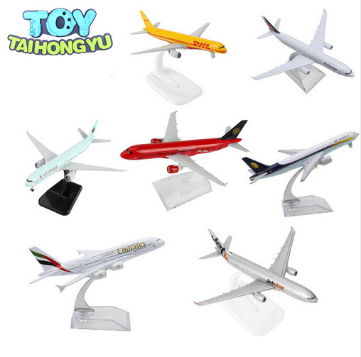 TAIHONGYU Boeing 777 380 320 747 757 330 Jet Star Air Airbus Canada DHL Emirates airplane Model w/Stand Collections Diecast Toys image