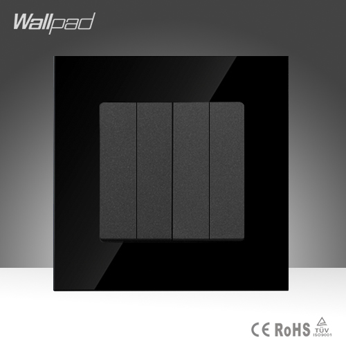 Wallpad Hot Sales 4 Gang 1 Way Black Tempered Glass Push Button Wall Power Light Switches ,Free Shipping hot sales 1 gang 2 way wallpad crystal glass uk eu double control push button light wall switch amazing discount