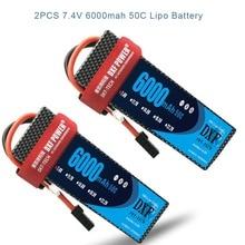 DXF 7.4V 6000mAh 50C Max 100C LiPo Battery Pack 2S HardCase For 1/8 1/10 RC Car Model TRX Slash Emaxx