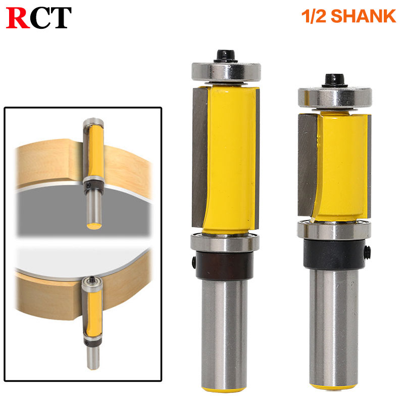 1Pc 1/2 Shank Flush Trim Router Bit Top & Bottom Bearing - 1-1/2H For Woodworking Cutting Tool freeshipping 1pc flush trim pattern router bit 1 2 shank top
