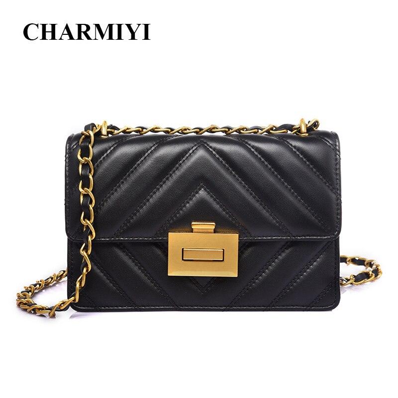 CHARMIYI petit cuir véritable femmes Messenger sacs Designer V chaînes épaule sac à bandoulière rétro serrure dames de luxe sacs à main
