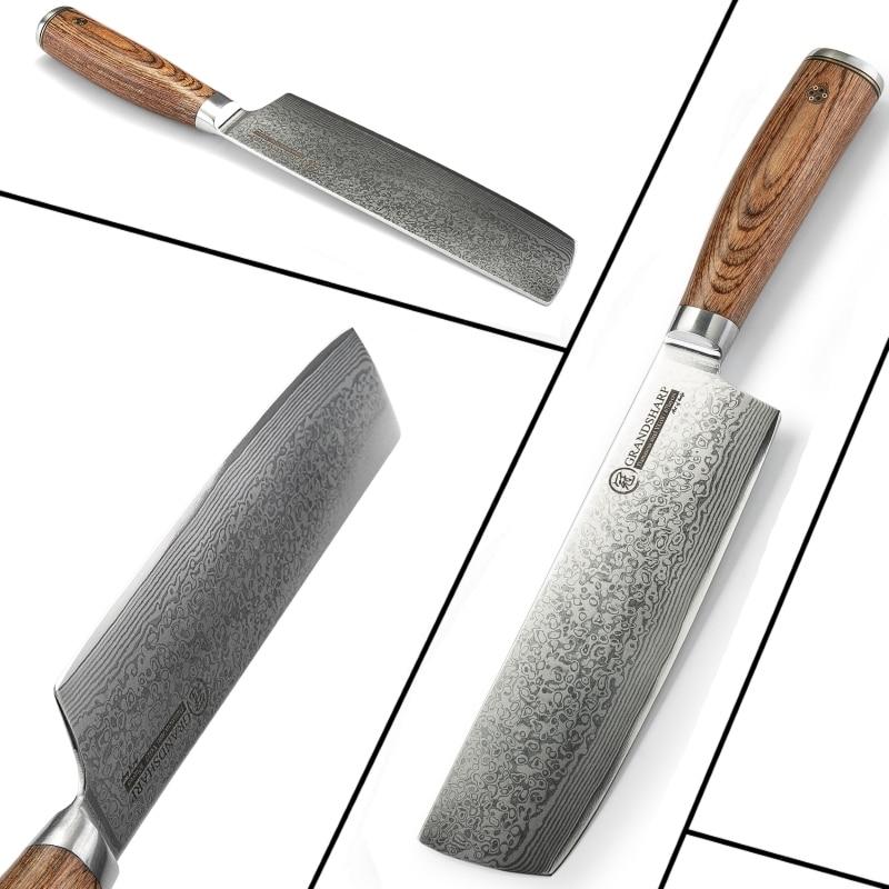 Super Sale #43a022 Nakiri Knife Damascus Kitchen Knife