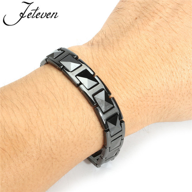 Black Tungsten Magnetic Bracelet Mens 21cm Energy Health Therapy Bracelets For Men Pain Relief Fashion Jewelry