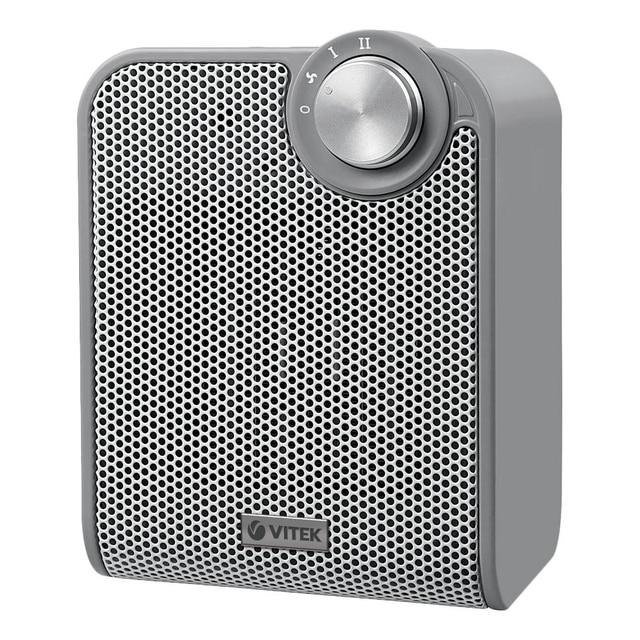 Тепловентилятор Vitek VT-1753 GY (Мощность 1500 Вт, 2 режима + вентиляция без нагрева, керамический нагревательный элемент, защита от перегрева и опрокидывания)