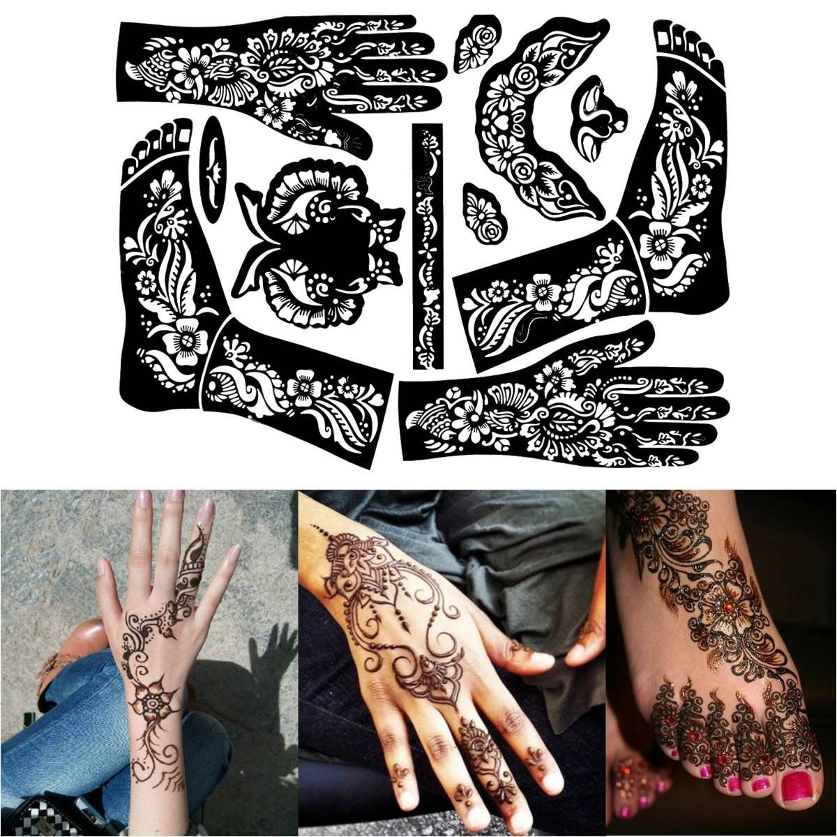 1 Sheet Henna Tattoo Templates Hands Feet Leg Arm Airbrushing Tattooing Templates Professional Temporary Mehndi Body Painting