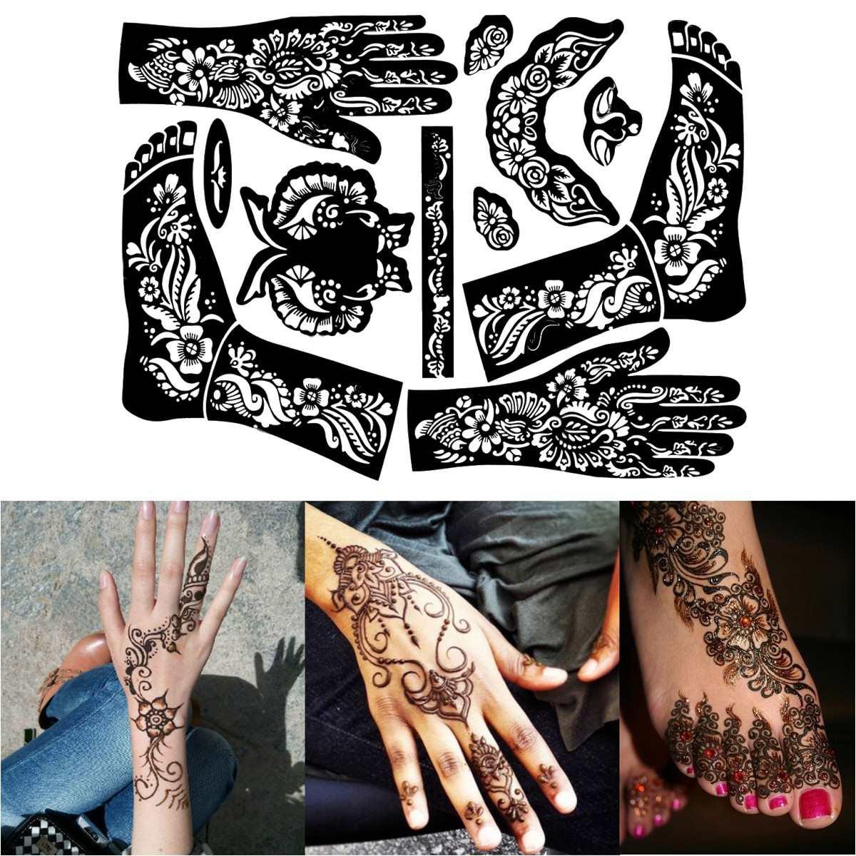 1 Sheet Henna Tattoo Templates Hands Feet Leg Arm Airbrushing Tattooing Templates Professional Temporary Mehndi Body Painting