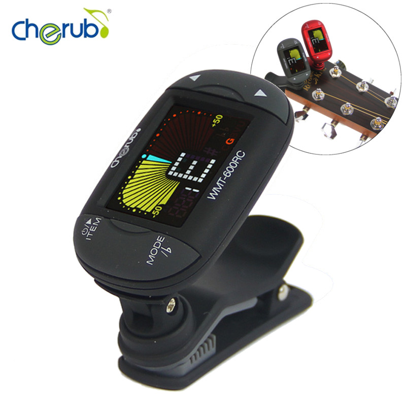 WMT-600RC Reversible Clip Metro-tuner Color LCD Display Universal Auto Clip-on Tuner Metronome for Chromatic Guitar Bass Violin cherub wmt 250 tuner with auto tuning method electronic metronome sound tone generator for chromatic guitar bass violin ukulele